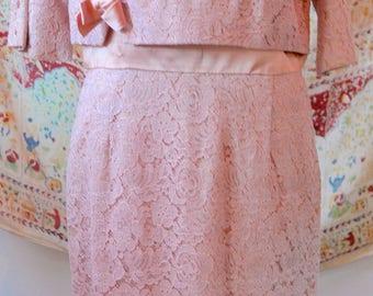 1950s Vintage Pink Rose Lace Dress by Topaz Original