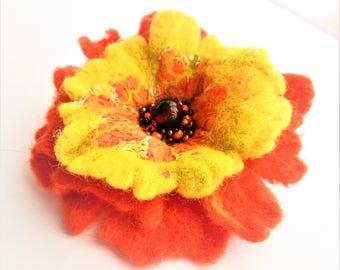 Flower women brooch Eco friendly brooch Flower beads brooch Flower yellow brooch Romantic jewelry Coral brooch Boho wool brooch Boho pin