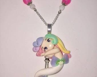 Medium necklace with pendant Rainbow Mermaid