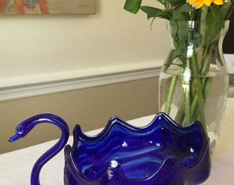 Vintage Cobalt Blue Glass Swan