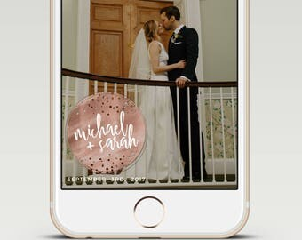 Rose Gold Glitter Seal Calligraphy Custom Wedding Snapchat Geofilter