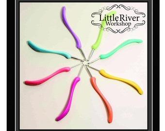 Crochet hook, ergonomic crochet hook set, craft supplies and tools, addi swing type hooks, set of eight crochet hooks - LARGE