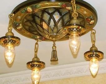 215b Vintage 1910s Ceiling Light aRT Nouveau Polychrome Chandelier