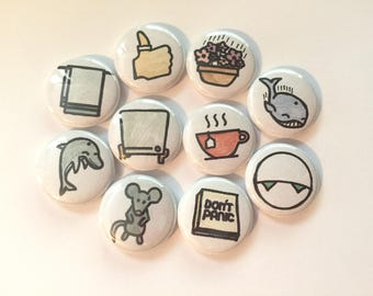 Hitchhiker's Guide to the Galaxy - Towel Day - one inch pinback buttons or magnets