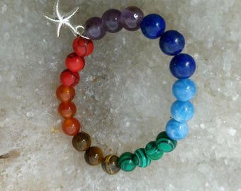 Bracelet 7 chakras étoile B1ET1- 18cm