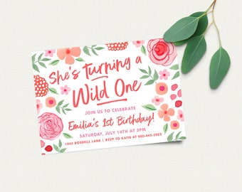 Wild One Birthday Invitation, Girl First Birthday Invite, Printable Invitation, Pink Flowers, Pink Raspberries, Invitation Download
