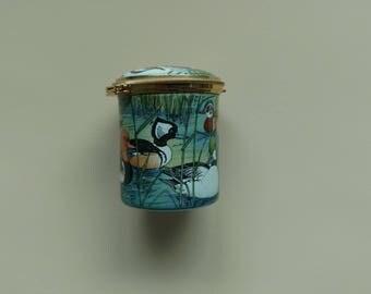 Hand painted enamel stamp holder