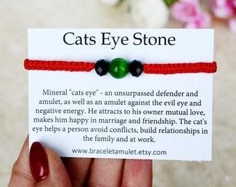 Evil eye bracelet Green cat eye bracelet Gemstone amulet Spiritual bracelet Protection gemstone Chakra bracelet Macrame bracelet Ideal gift