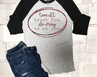 Valentine Shirt, Love all Trust Few Do Wrong to No One Shirt, Love Shirt, Valentine Shirt, Buffalo Plaid, Valentine Tee, Graphic, Women's