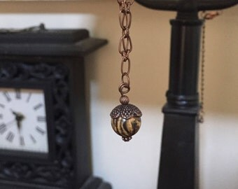 """Acorn Necklace Women's 30"""" Picture Jasper Oxidized Copper Fall"""