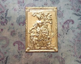 Rococo Pastoral Shepherdess/Embossed/French Vintage Brass Stamping/Furniture Mount/Appliqué/Findings/Plaque/Gilt Embellishment/Ormolu/Rare