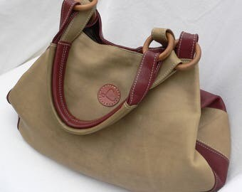 Sale - 70% - Handbag in genuine leather - unique piece - handmade - Made in France