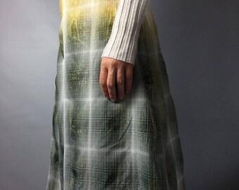 HUGO BOSS skirt Designer clothing Size small Cell print Fall skirt Midi skirt Yellow Green skirt Back to school Vintage skirt Casual skirt H