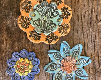 Wallflower Jewel Tones Orange and Blue Set of 3