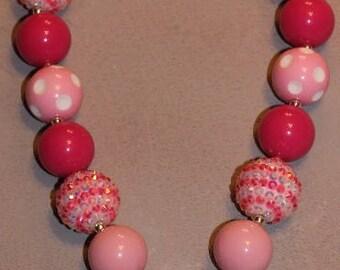 Chunky Bubblegum Necklace w/Cupcake Rhinestone Pendant