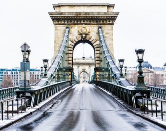 Szechenyi Bridge - Budapest Photography - Budapest - Danube - Budapest Winter - Snow - Fine Art Photography - Travel - Title: Szechenyi