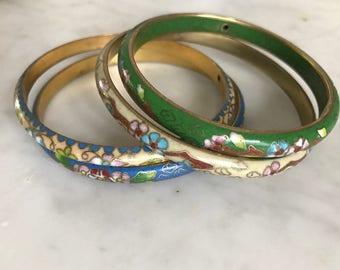 Four Vintage Cloisonné Asian Metal Bracelets Bangles