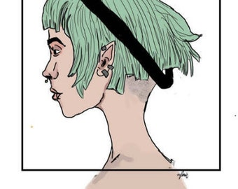 green haired girl
