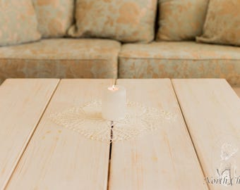Creme Knitted Lace Table Topper