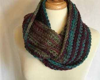 Chunky Winter Cowl, Thick and Warm, Purple, Teal, Green