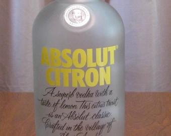 Absolut Citron Vodka empty 1 Liter bottle, bottle crafts, liquor bottle for DIY projects, empty liquor bottle, bottle for craft projects