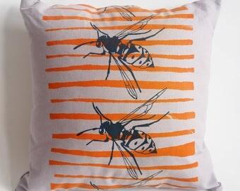 Hand made screen printed orange and black wasp cushion