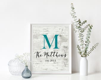 Family sign print, Family name sign,Last Name Print,Monogram Gift,Personalized Gift,Vintage initial,Rustic,Personalized Family,Initial print