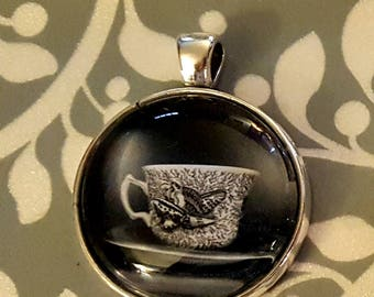 Black and White Teacup Pendant