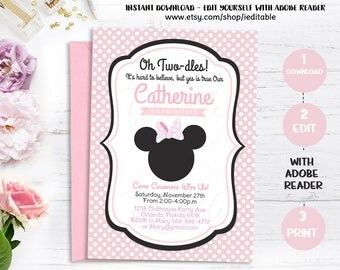 Minnie Mouse 2nd Birthday Invitations, Black White Polka Dots and Pink, Second Birthday, Oh Two-dles Editable Template Instant Download