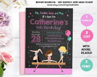 GYMNASTIC Birthday Invitation, Gymnastics Chalkboard Invite, Girl invitations Party, Editable invitations, Template Instant download