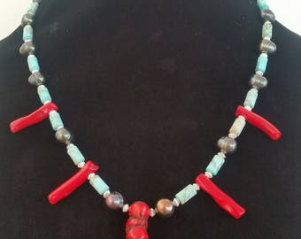 Red Coral Necklace / Black Pearl Necklace / Turquoise Necklace / Silver Necklace