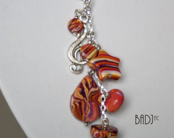 "Orange ""charms"" necklace"