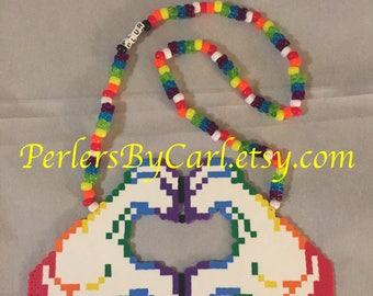 PLUR Heart Perler Necklace