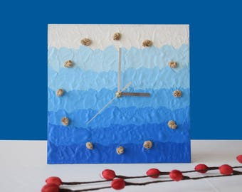 SEA IMPRESSION, Wall clock, Modern Beach Clock, Clock painting with ropes, Blue & white clock gift, Sea clock, Clock gift, Wall clock decor