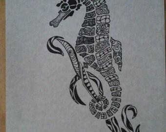 Seahorses Zentangle print