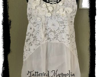 Romantic Bohemian Art To Wear Lace Tunic Top by Tattered Magnolia Wedding, Vacation, Bridal Shower Gypsy Style
