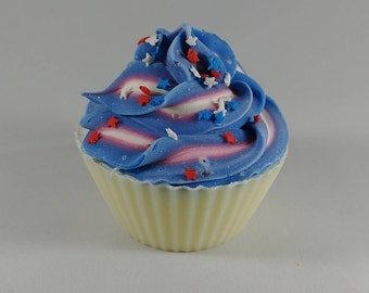 Blueberry Cupcake Soap - July 4th - Patriotic