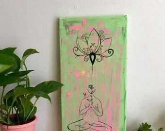 Yoga Lotus Flower Meditation Abstract Knife Palette Original Painting