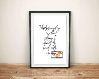 Photography Quote Print | Digital Print, Office Decor, Home Wall Art, Watercolour Print, Camera Print, Inspirational Quote, Typography Print