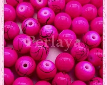 Set of 100 filament REF2309 effect 8mm pink glass beads