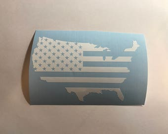 United States Outline Flag Vinyl Decal