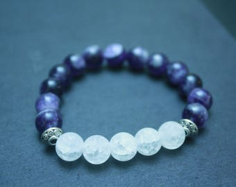 Amethyst and crystal quartz bracelet