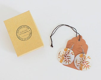 Round Hand Painted Shell Earrings