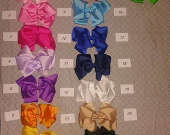 6 inch Double Stacked Grosgrain Bows on alligator clip - 15 Colors stack/bow/ 6""