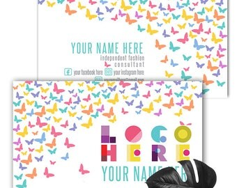 Butterflies Dot Dot Smile Business Card, Personalized Two Sided Business Card Printable File, Dotdot smile Business cards