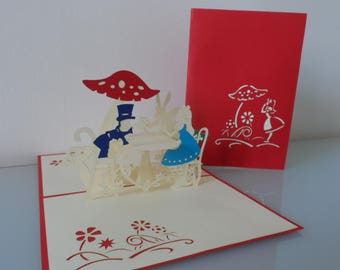 Alice in Wonderland Tea Party Pop up Card Birthday Get Well Blank Hen Party (sku146)