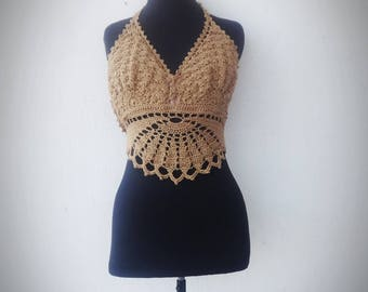 Gold  Mandala Crochet Top, Lace Crochet Top, Crochet Halter Top, Boho Crop Top, Festival Top, Hippie Halter, Summmer Top Halter, Beach Top