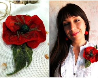 brooch poppy original gift for women felt brooch wool jewelry flower brooch  red brooch accessory brooch romantic beautiful flower handmade