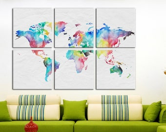 Watercolor World map Wall Art Canvas Print Wall decor Canvas wall art Large Canvas Art Home decor World map home interior canvas World map