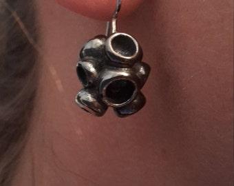 Earrings: oxidized silver